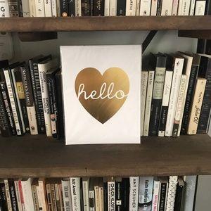 """Stephanie Sterjovski """"Hello"""" Gold Heart 9x11 Print"""